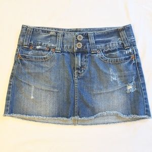 American Eagle Denim Cutoff Mini Skirt Size 0